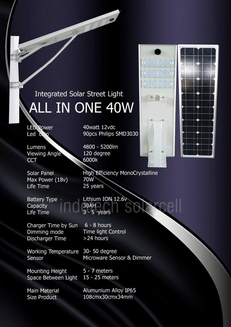 spesifikasi pju all in one 40 watt, pju solar cell, lampu pju 40 watt, pju all in one 40 watt, panel surya 30 watt, lampu jalan tenaga surya, lampu pju tenaga marahari 40 watt